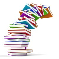 Stack Of Colorful Falling Books